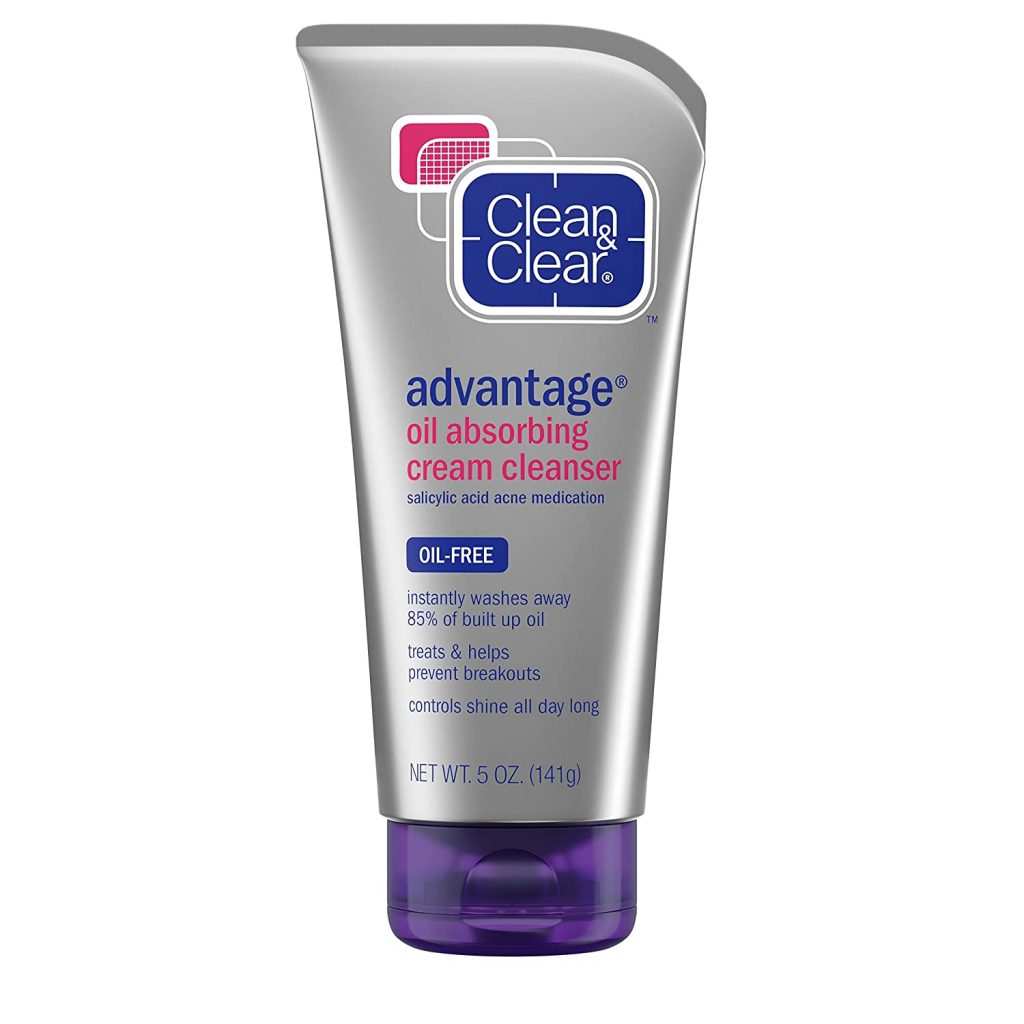 Clean & Clear Oil Absorbing Cream Facial Cleanser with Salicylic Acid