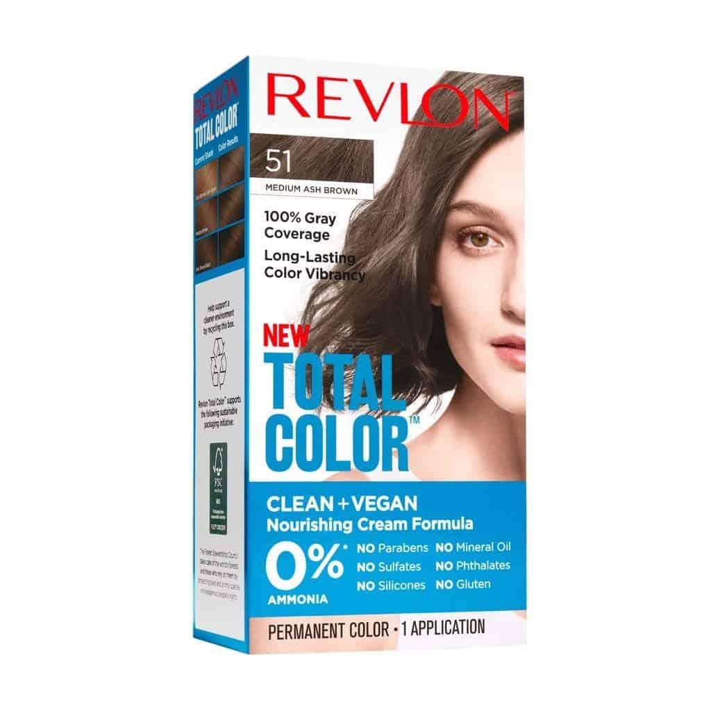 Revlon Total Color Permanent Hair Color Clean and Vegan 100 Gray Coverage Hair Dye 51 Medium Ash Brown