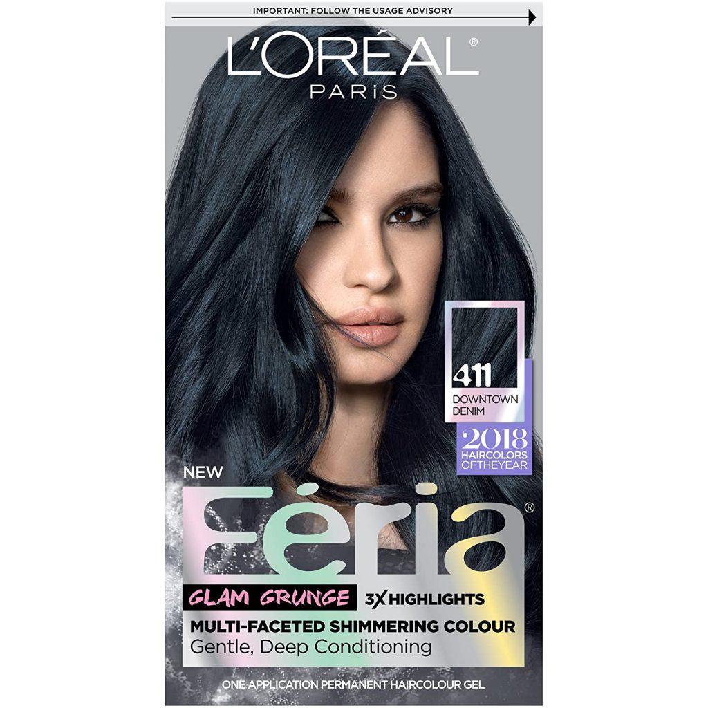 LOreal Paris Feria Multi Faceted Shimmering Permanent Hair Color 411 Downtown Denim 1