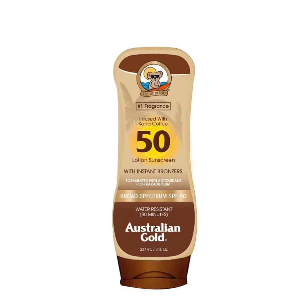 Australian Gold Sunscreen Lotion with Kona Coffee Infused Bronzer SPF 30 1