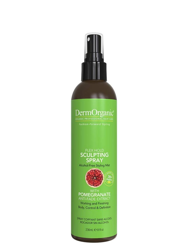 Dermorganic Flex Hold Sculpting Spray For Hair With Pomegranate Anti Fade Extract Alcohol Free Styling Mist
