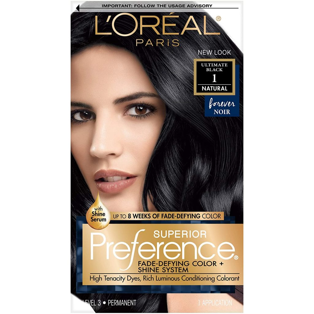 Loreal Paris Superior Preference Fade Defying Shine Permanent Hair Color 1.0 Ultimate Black