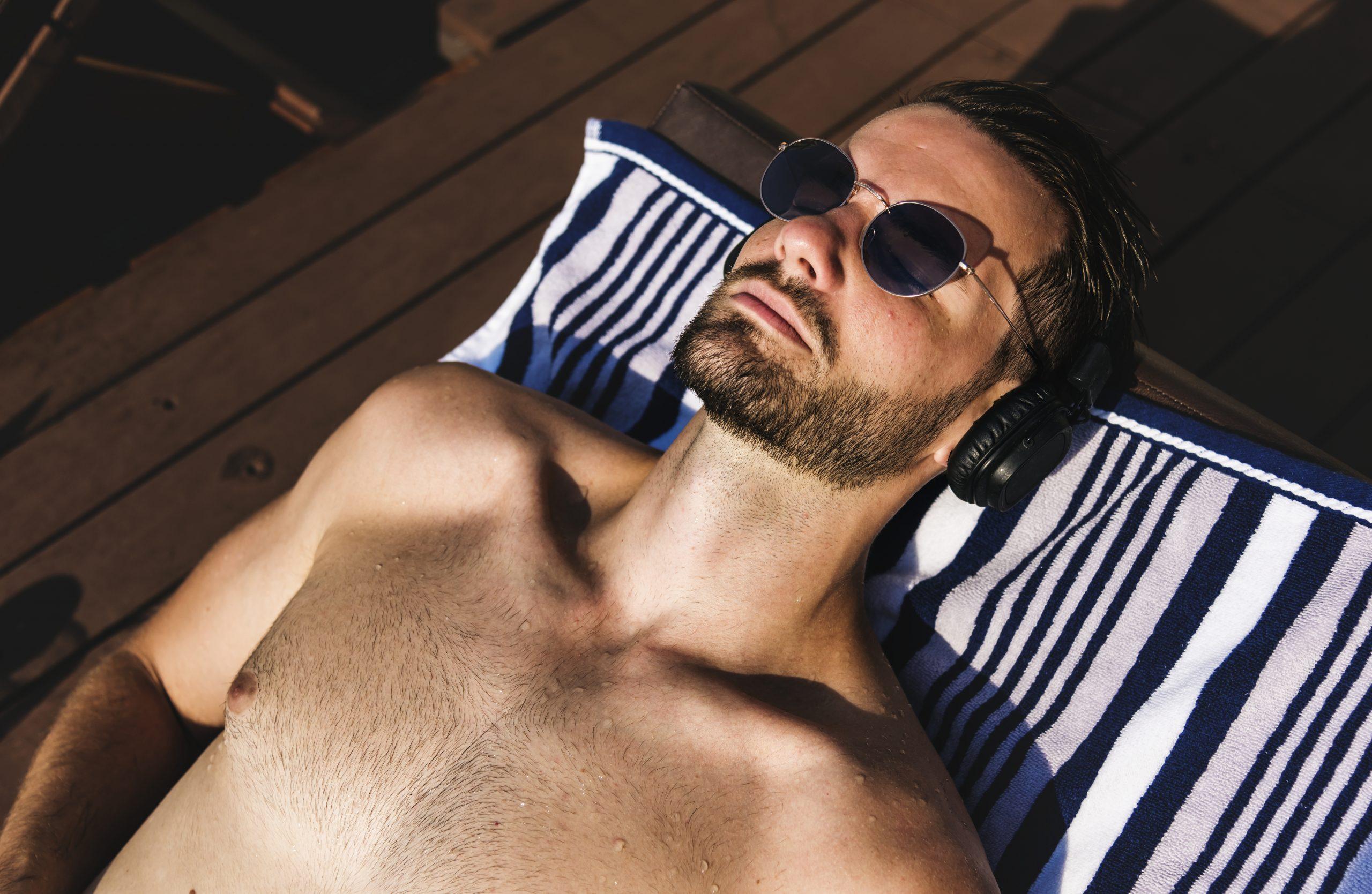 Man Getting His Tan On